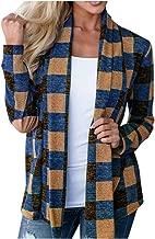 YiYLunneo Women's Open Front Plaid Open Cape Coat Long Sleeve Kimono Jacket Cardigan Tops