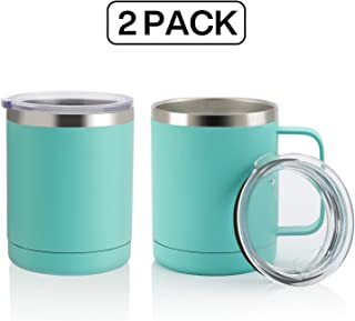 ONEB 12oz/2Pack Tumbler Stainless Steel Coffee Mug with Handle - Double Wall Vacuum Cup wth Lid for Hot & Cold Drinks (Mint Green, 12oz-2 Pack)