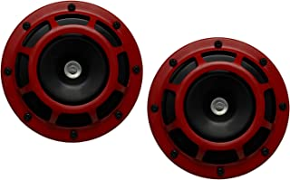 DUAL Super Tone LOUD Blast 139Db Universal Euro RED ROUND HORNS (Quantity 2) High Tone / Low Tone Twin Horn Kit with Brack...