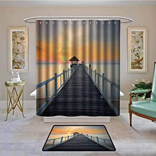 Waterproof Fabric Shower Curtain Nautical,Long Exposure Deck Path by the Sea Shorline with Horizon Sunset Landscape,Soft Blue Orange,Machine Washable - Shower Hooks are Included 36
