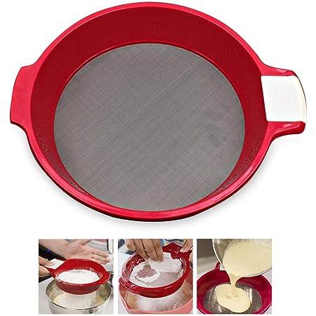 KOBWA Tamis à farine en acier inoxydable à mailles fines pour cuisine, maison, 21,6 x 17 cm