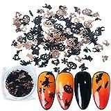 iSpchen Patch per Unghie di Halloween Adesivi per Nail Art Adesivi per Unghie Oro Nero Zucca Pipistrello Gioielli per Unghie