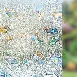 N / A Vidriera de película no Adhesiva de Vinilo estático película de Ventana Opaca privacidad decoración Ventana decoración Colorido patrón Circular diseño A15 50x200cm