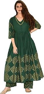 Monika SIlk Mill Women's Green Color Cotton Silk Semi Stitched Block Printed Anarkali Suit with Stitched Palazzo - Free Size