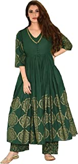 Monika SIlk Mill Women's Green Color Cotton Silk Semi Stitched Block Printed Anarkali Suit with Stitched Palazzo - Free Size