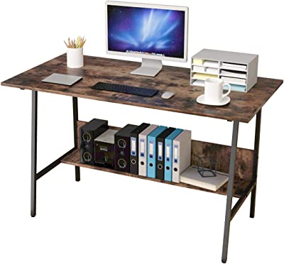 Amazon Com Bangoyopi Home Office Desk 47x24 Workstation Vintage Sturdy Computer Pc Writing Laptop Table For Study Room Bedroom Living Room With Storage Shelves Dark Brown Kitchen Dining