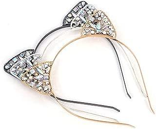 3Pcs Rhinestone Cat Ears Headbands Set Crystal Hair Hoop for Women Girls Kids Party Decoration Cosplay Halloween Makeup Headpiece Hair Accessories