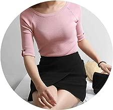 Summer Top Tee Half Sleeve T-Shirt with Button Slim Elegant High Elastic Knitting T-Shirt