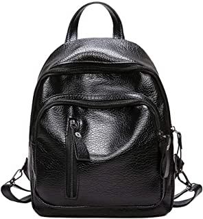 Creazrise Women Girl Multifunction Shoulder Bookbags School Bag Cute Fashion Leather Backpack (Black)