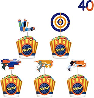 Cupcake Toppers for Nerf Cupcake Topper Wrappers Set Cake Decorations for Children