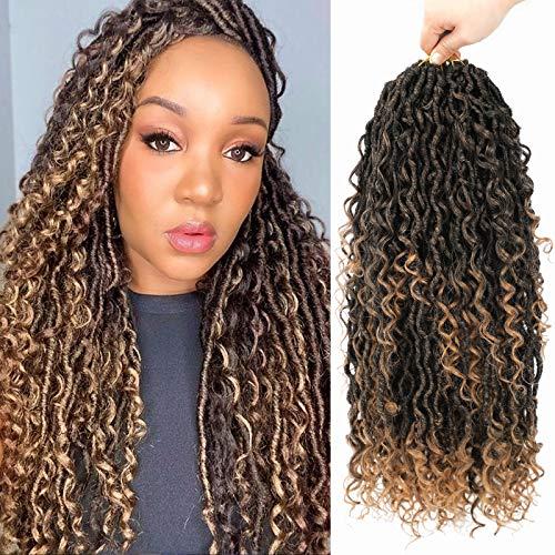 Lihui Faux Locs Crochet Hair, 20 Inch Curly Goddess Locs Crochet Hair For Black Women, Pre Looped Boho Style Goddess Faux Locs Crochet Braids, Synthetic Braiding Hair Extensions(20inch, 6packs, 1B/27)