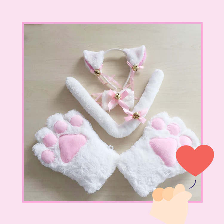 KQueenStar Cat Cosplay Set Kitten Tail Ears Collar Paws Gloves Anime Lolita Gothic Cosplay Set for Women Halloween