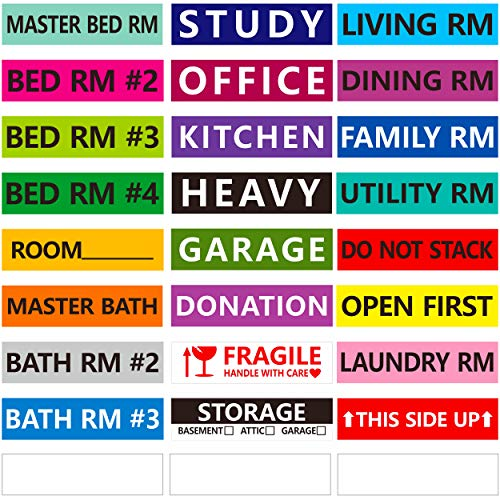 1200 Pcs 25 Designs Pre-Printed Color-Coded Home Moving Box Labels with Customizable Blank Stickers