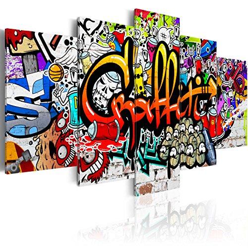 B&D XXL murando Impression sur Toile intissee 200x100 cm cm 5 Parties Tableau Tableaux Decoration Murale Photo Image Artistique Photographie Graphique Graffiti i-A-0103-b-n
