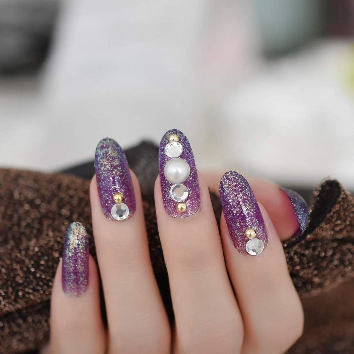 インセンティブ広がりマークされたXUTXZKA 指のタブのために装飾された長い楕円形のキラキラ偽の釘紫大