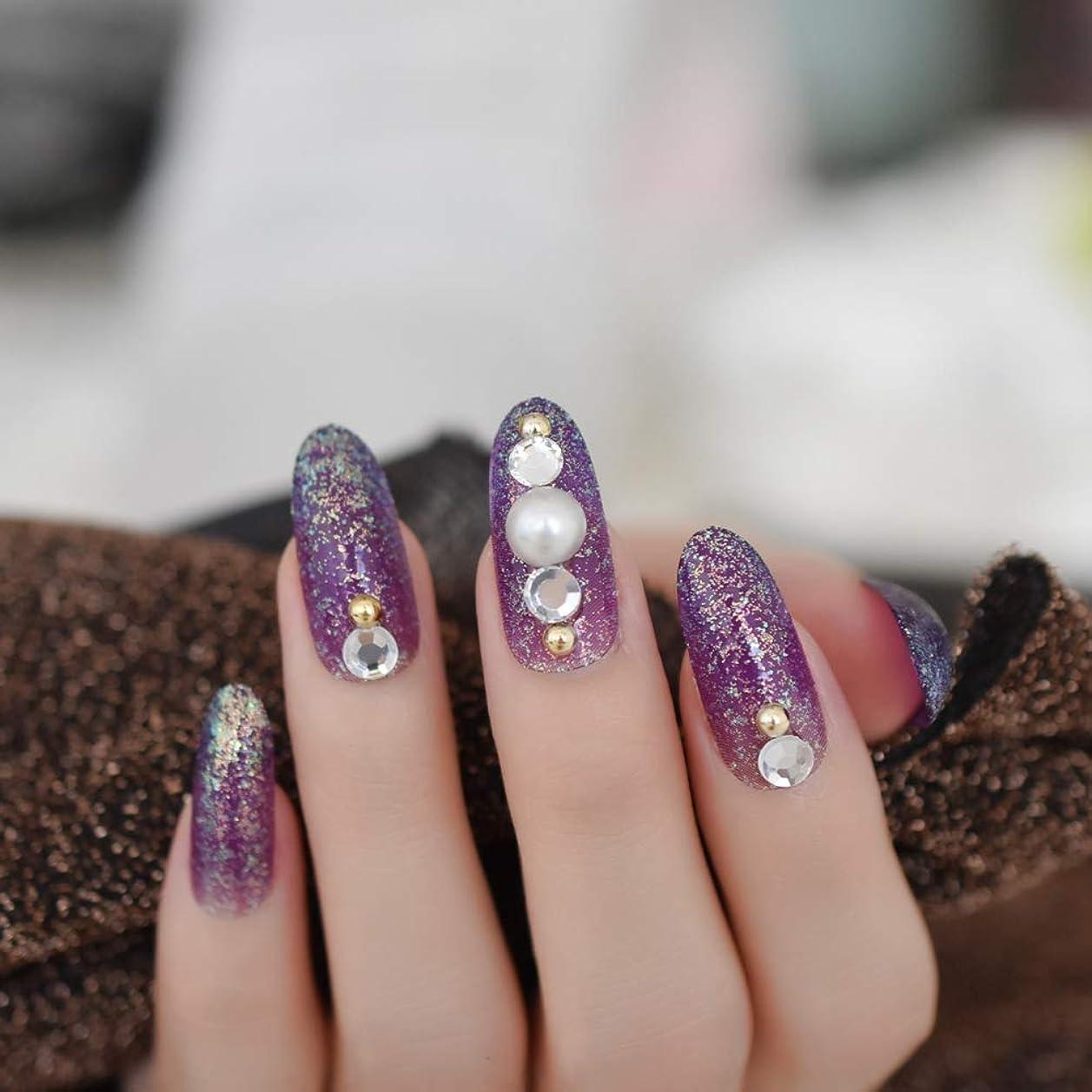 割れ目延期する霧深いXUTXZKA 指のタブのために装飾された長い楕円形のキラキラ偽の釘紫大