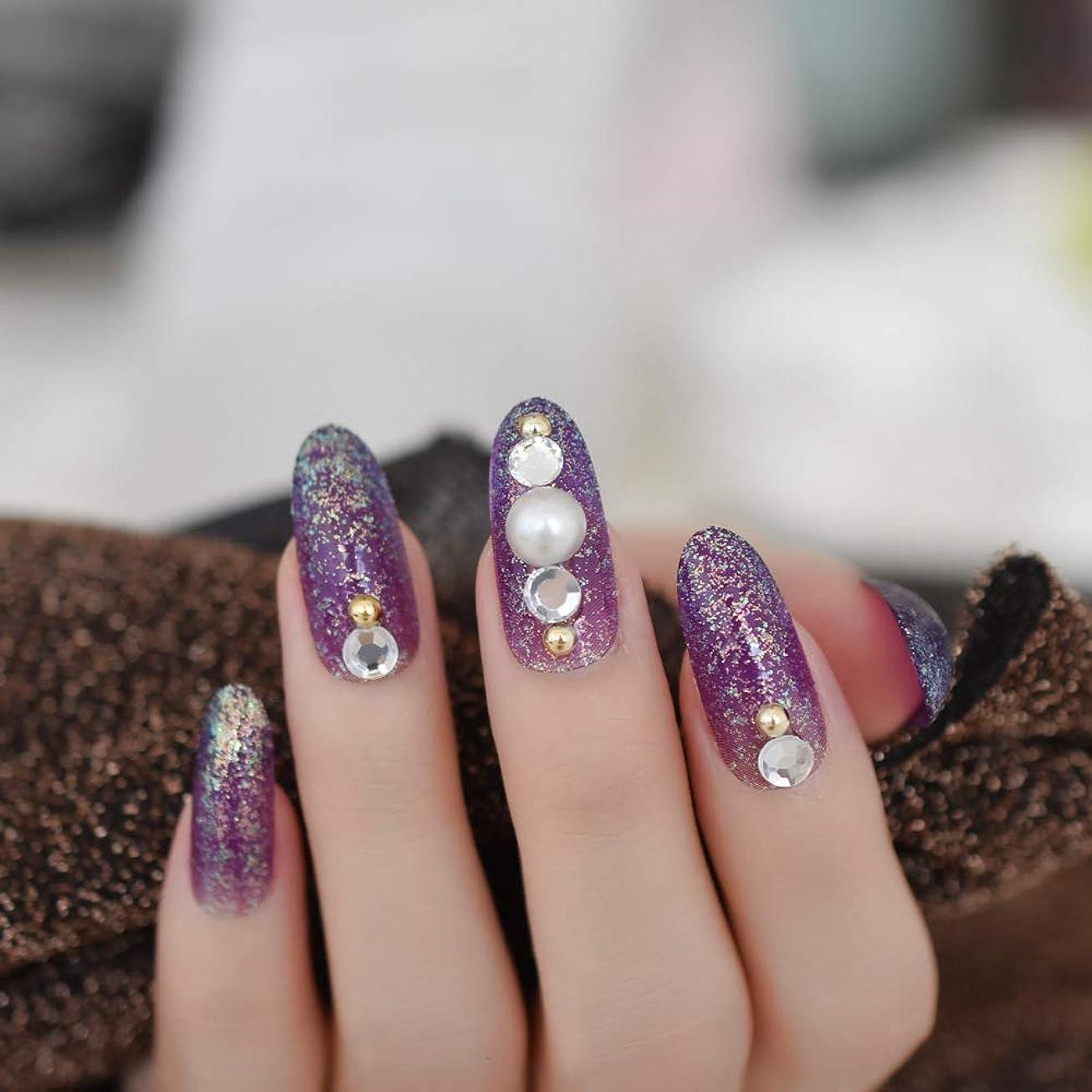 ロック支援する経度XUTXZKA 指のタブのために装飾された長い楕円形のキラキラ偽の釘紫大