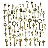 Hysagtek - Juego de 70 llaves antiguas de bronce, accesorios para bisutería, manualidades, collares y pulseras, colgantes, modelos variados