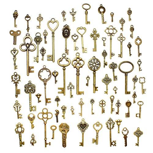 Hysagtek - Juego de 70 llaves antiguas de bronce, accesorios