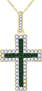 Wishrocks Simulated Emerald with CZ Cross Pendant Necklace in 14K Gold Over Sterling Silver