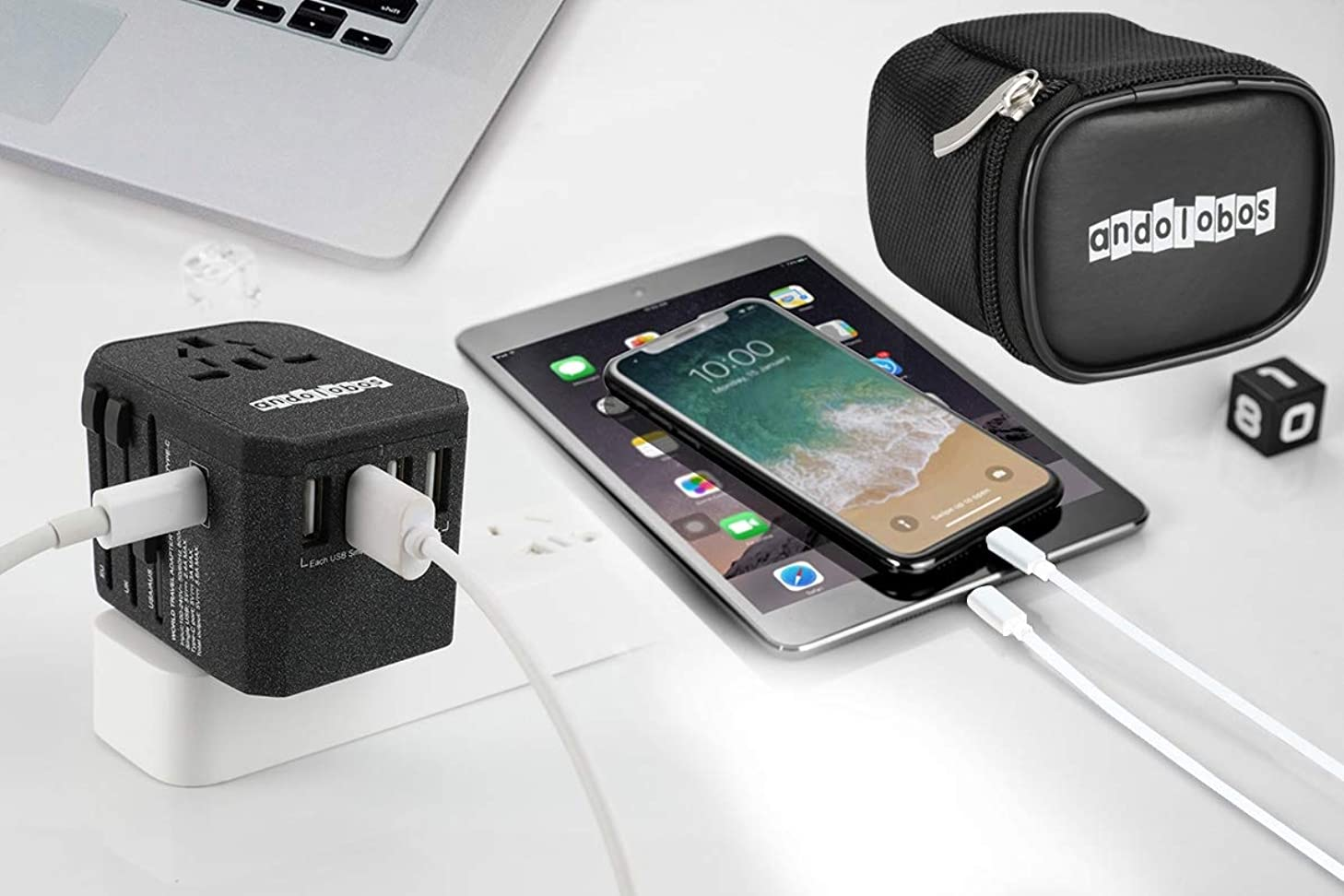 ANDOLOBOS Travel Adapter-All in One Worldwide International 4 USB Type C Charger AC Plug Adapter with 5.6A Smart Power 3.0A USB Type-C For USA EU UK AUS Asia Cell Phone Tablet Laptop