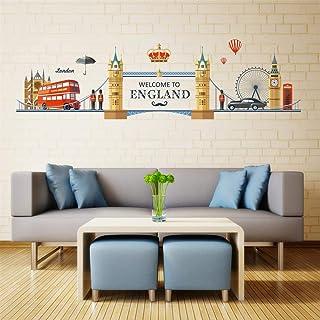 decalmile Pegatinas de Pared Londres Skyline Vinilos Decorativos Puente de la Torre Ojo de Londres Big Ben Adhesivos Pared Dormitorio Salón Estudio
