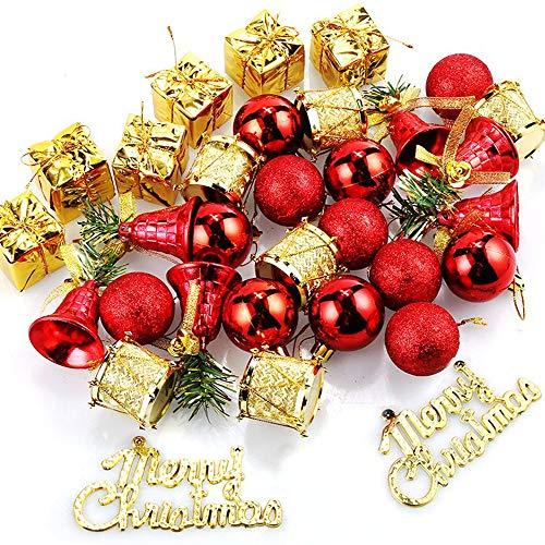 Amacoam Weihnachtskugeln Kunststoff Mini Weihnachtskugeln Weihnachtsbaumschmuck Rot Gold Klingelglocken Trommel Schleife Anhänger Baumkugeln Weihnachtsbaum Deko Weihnachtsdeko 32 Stück