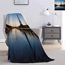 Luoiaax Night Plush Blanket for Bed Couch Eiffel Tower at Twilight Travel Destination Tourist Attraction Famous Monument Super Soft Cozy Queen Blanket W51 x L60 Inch Pale Blue Yellow