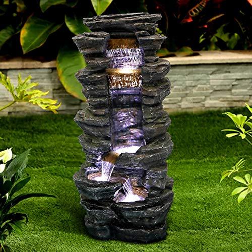 "Chillscreamni Showering Outdoor Fountain - 40"" High Rockery Shower Outdoor Water Fountain with LED Lights for Home&Office Decor, Stacked Rock Cascading Relaxation Garden Fountain for Garden, Yard"