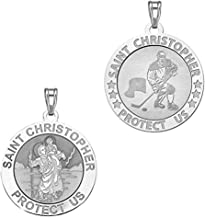 PicturesOnGold.com Ice Hockey - Saint Christopher Doubledside Sports Religious Medal 3/4 Inch Sterling Silver