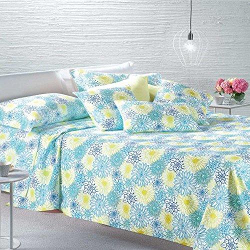 Caleffi–Leichte Tagesdecke aus Baumwolle, nicht gesteppt, französisches Bett, Modell Maiorca, Kornblumenblau, 90_x_200_cm
