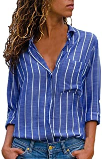 Womens Striped Shirt, Casual Loose Button Down Top Ladies Long Sleeve Blouse