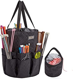 HOMEST XL Yarn Storage Tote, Knitting and Crochet Organizer, These Large Storage Bag Have 16 Pockets for Needles, Hooks, Scissor, Black (Patent Pending)