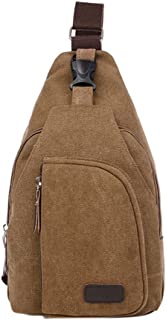 Luxsea Chest Bag Classic Messenger Bag - Vintage Canvas All-Purpose Outdoor Use Shoulder Backpack