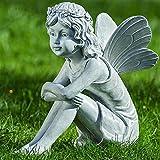 Decorazione, arredamento, statue da giardino - Scultura di Elfo, Angelo - materiale: resina - colore: grigio/pietra - ca 37 cm