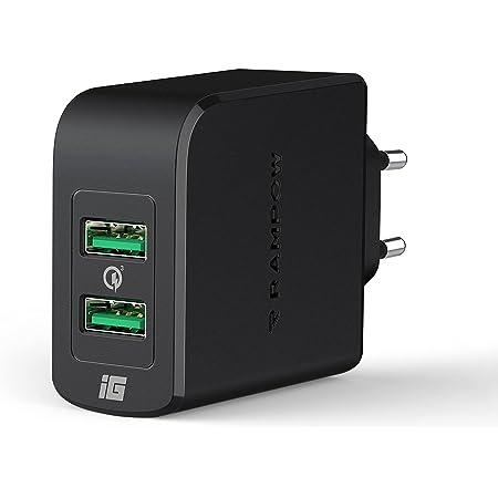 RAMPOW Caricatore USB da Muro 39W, Quick Charge 3.0 5V/2.4A Caricabatterie USB 3.0 Ricarica Rapida 2 Porte per Samsung Galaxy S20,S10,S9 / Huawei Mate 30 PRO/Xiaomi 10 / iPhone/iPad/Laptop-Nero