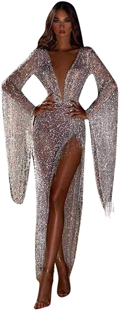Spasm price Women's Evening Dress Sparkling Al sold out. Sexy Sequined Pagoda Sleeve Long