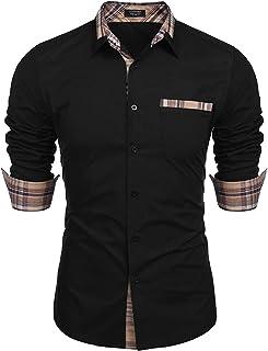 Men's Casual Cotton Long Sleeve Dress Shirt Plaid Collar...
