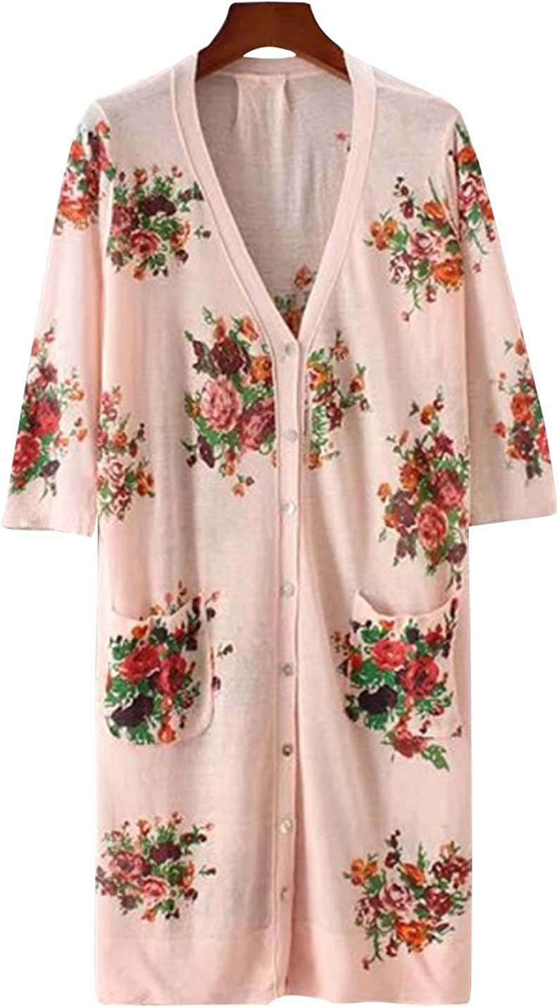 Uaneo Women's V Neck Floral Printed 3/4 Sleeves Cardigan Sweater Side Pocket Midi Long Outerwear (One Size, Pink)