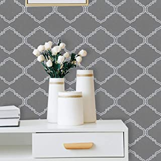 """197""""x17.7""""Grey Pattern Peel and Stick Wallpaper Grey Wallpaper Decorative Contact Paper Self Adhesive Peel and Stick Wallp..."""
