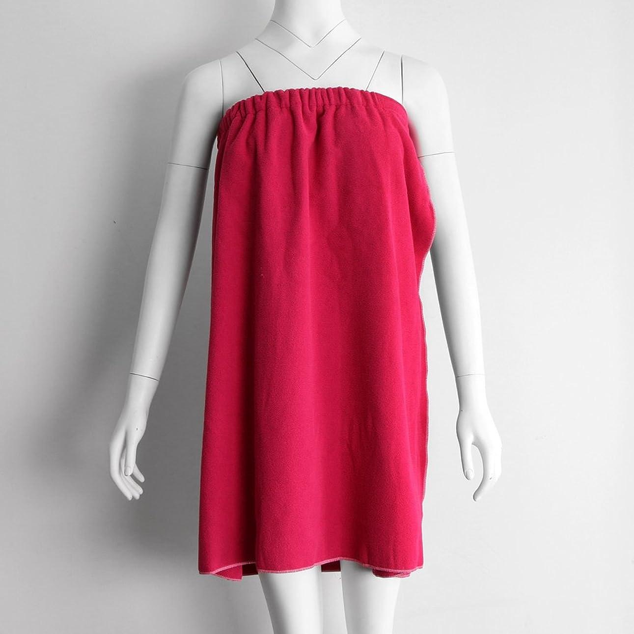 ミサイルクレジット書き込みタオルラップ バスタオル バススカート レディース シャワーラップ 約68×54cm 4色選べる - 赤