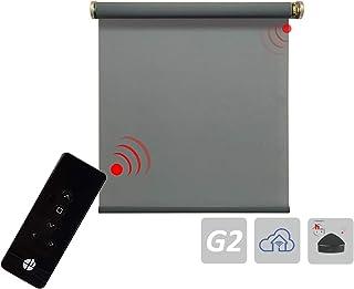 Estor eléctrico para protección solar, incluye motor, gris, 5 % de velocidad de apertura, diferentes dimensiones (1 unidad), tela, Gris 5%., 900x2500 mm