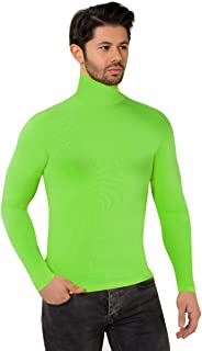 Men's Roll Neck Soft Superior Quality Cotton Long-sleeve Tops (Medium, Lime Green)