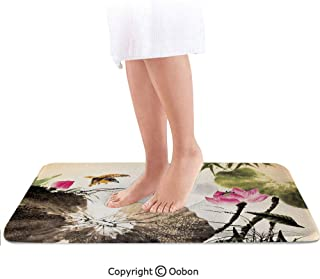 Art Bath Mat,Bird Jumping into a in a Gloomy Setting Circle of Life Chinese Culture Decorative,Plush Bathroom Decor Mat with Non Slip Backing,36 X 24 Inches,Cream Taupe Hot Pink