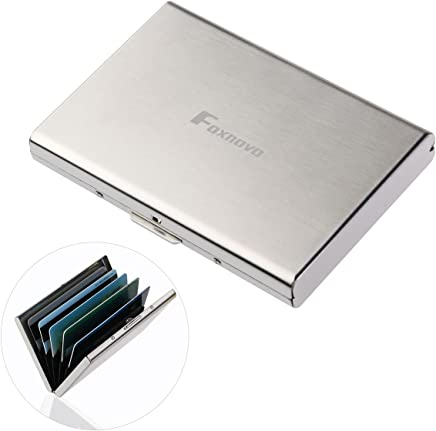 FOXNOVO Ultra Thin Edelstahl Brieftaschen RFID Blockierung Kreditkarte Brieftasche Halter f�r M�nner Frauen mit 6 PVC Slots