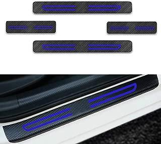For VOLVO C70 S40 S60 S80 S90 V40 V60 Door Sill Protector Reflective 4D Carbon Fiber Sticker Door Entry Guard Door Sill Scuff Plate Stickers Auto Accessories 4Pcs Blue