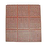 Rubber-Cal 03_126_INT_WRD'Dura-Chef Interlock' Anti-Fatigue Rubber Floor Matting, 5/8' x 36' x 36', Red