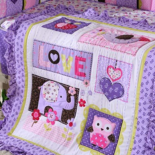 Wowelife Purple Elephant Crib Bedding 100% Cotton 7 Piece Elephant Baby Bedding for Baby(Purple-7 Piece)