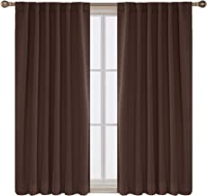 Deconovo Solid Thermal Insulated Blackout Curtains Back Tab and Rod Pocket Curtains Room Darkening Curtains for Bedroom 52x63 Inch Chocolate 2 Panels