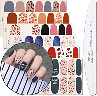 WOKOTO 6 Sheets Dotting Nail Art Polish Wraps Sticker Strips With 1Pc Nail File Leopard Print Adhesive Manicure Decal Design Kit